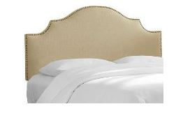 California King Nail Button Notched Headboard in Linen Sandstone - Skyline 834NB-BRLNNSND