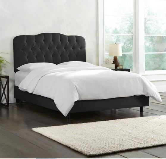 California King Tufted Bed in Shantung Black - Skyline 744BEDSHNBLC