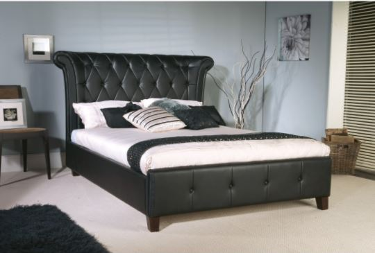 Skyline California King Tufted Wingback Bed Velvet Ink