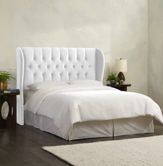 Skyline California King Tufted Wingback Bed Velvet White