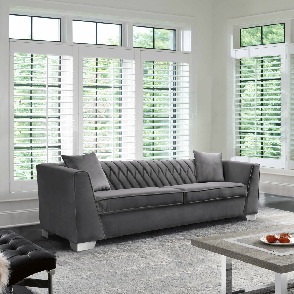 Armen Living Cambridge Contemporary Sofa Brushed Stainless Steel