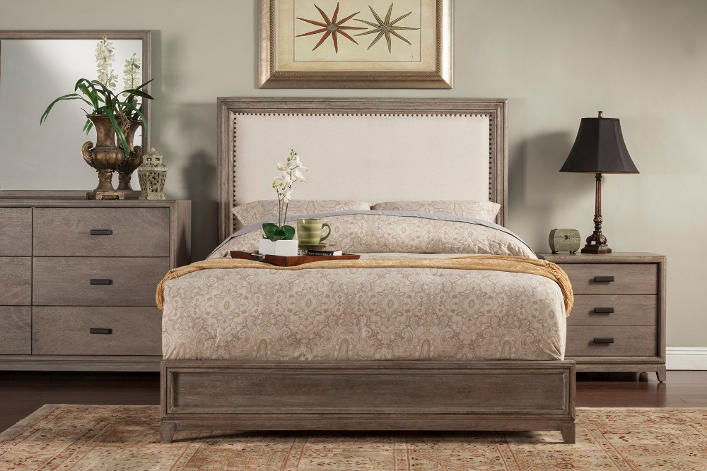 Alpine King Panel Bed Upholstered Headboard Nailheads