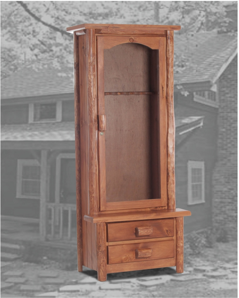 Chelsea Home Rustic Gun Cabinet Golden Oak