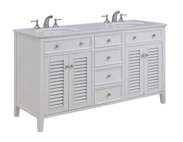 Elegant Lighting Cape Cod Double Bathroom Vanity Set White