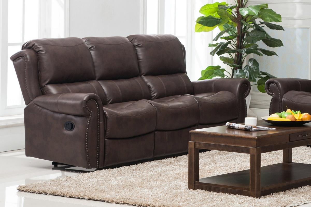 Chelsea Home Recliner Sofa Manual Handle Brown
