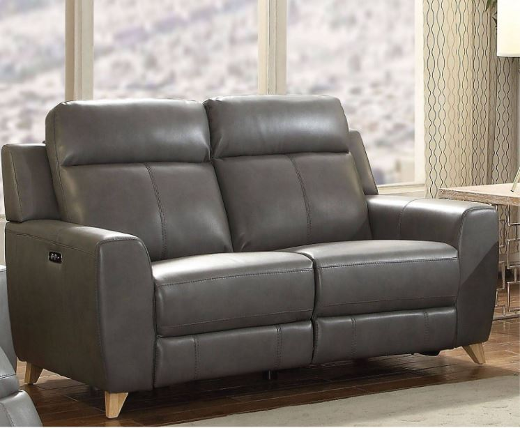 Acme Cayden Loveseat Power Motion Gray Leather Aire Match