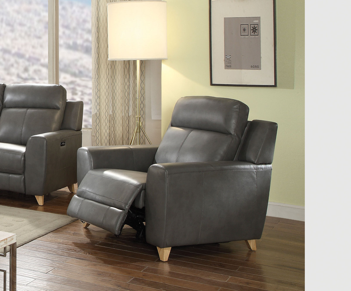 Acme Cayden Recliner Power Motion Gray Leather Aire Match