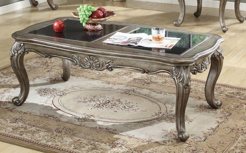 Acme Chantelle Coffee Table Granite Black Granite Antique Platinum
