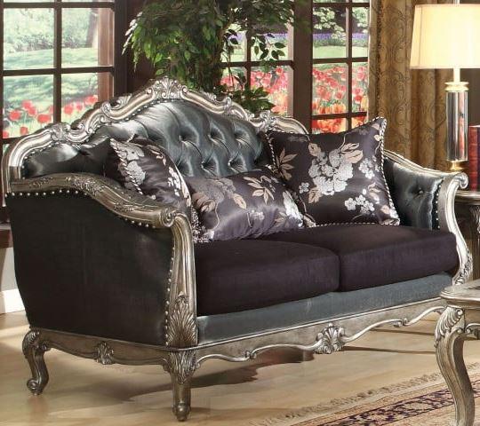 Acme Chantelle Loveseat Pillows Silver Gray Silk Like Fabric