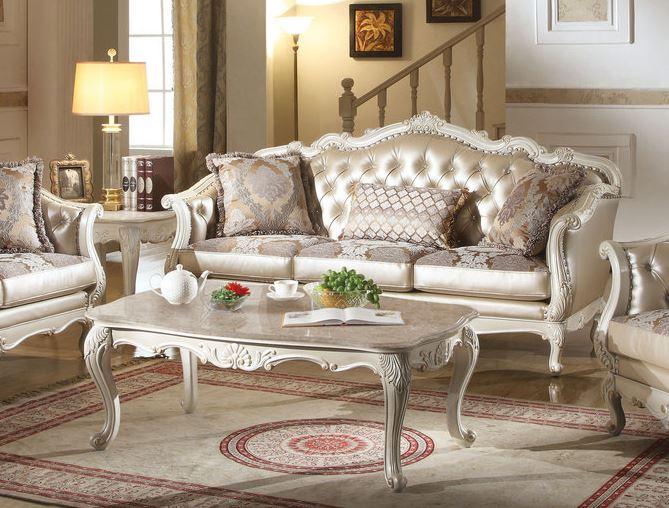 Acme Chantelle Sofa Pillows Rose Gold Pu Fabric Pearl White