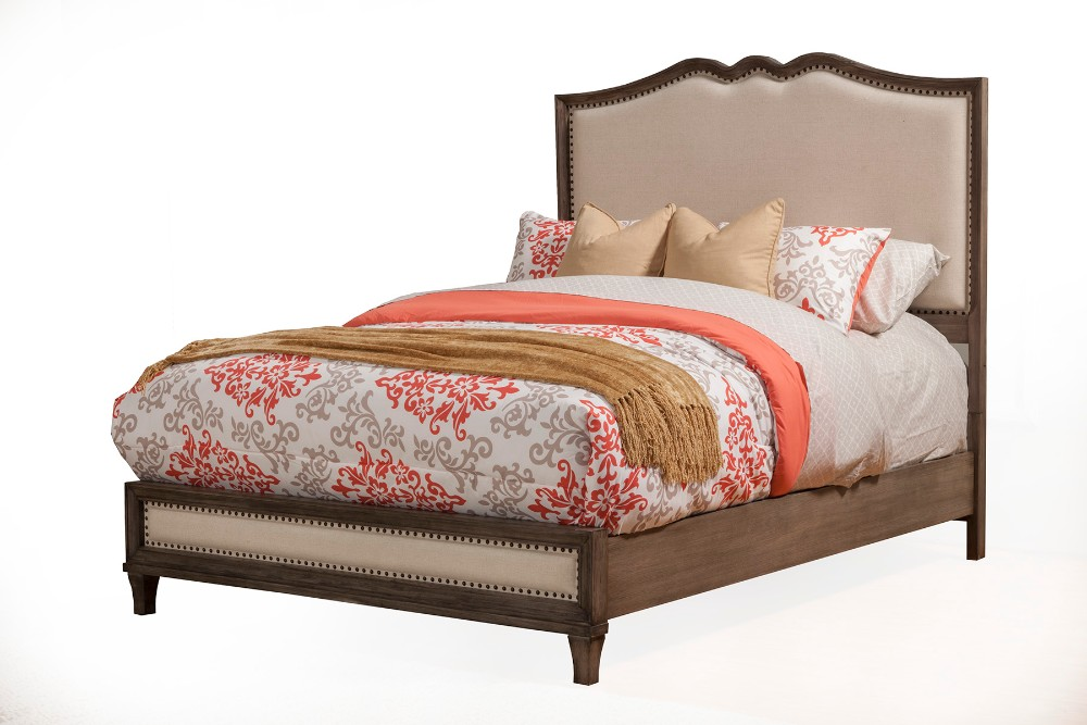 Charleston Queen Panel Bed w/ Upholstered Headboard & Footboard - Alpine Furniture 1500-01Q