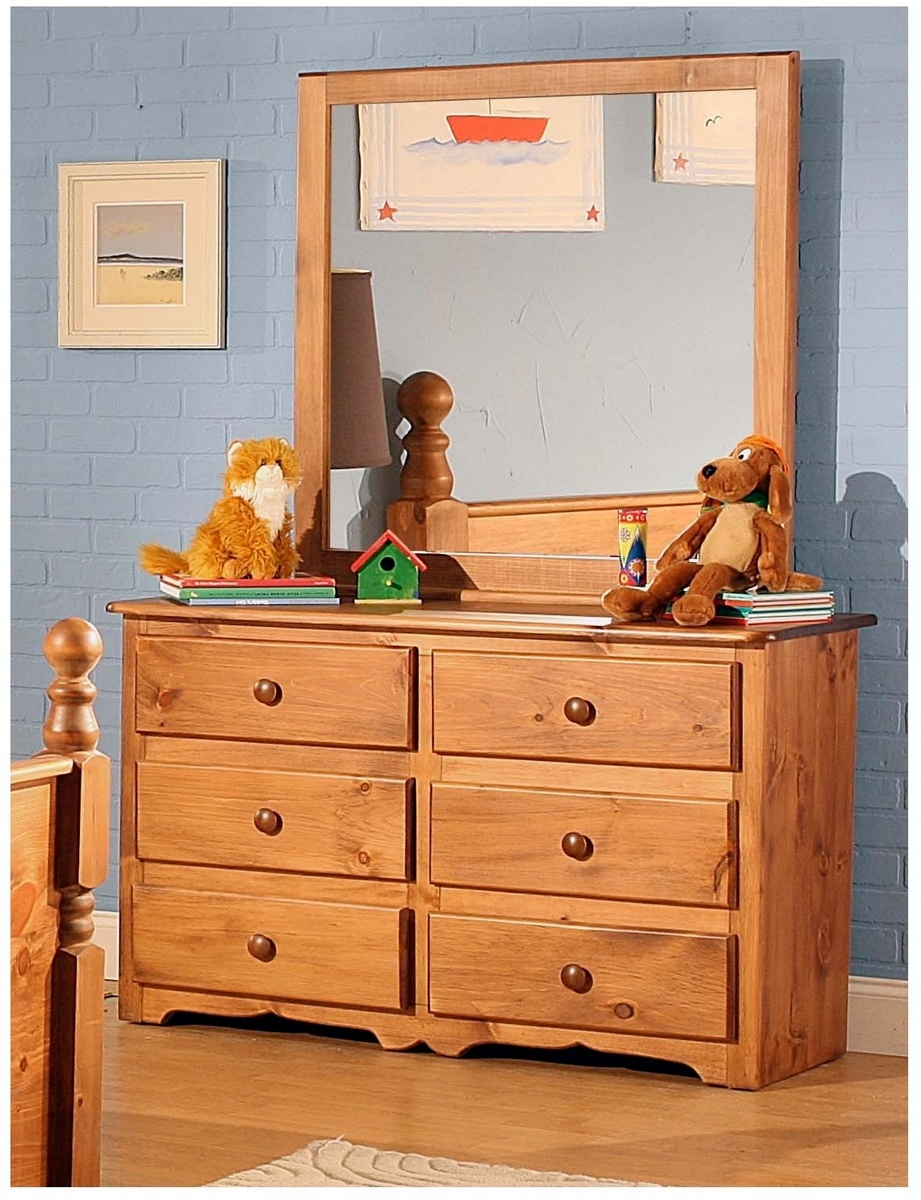 Drawer Dresser Mirror Pine