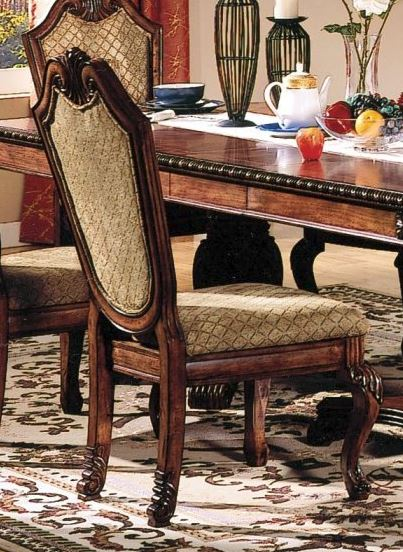 Chateau De Ville Side Chair (Set of 2) in Fabric & Cherry - Acme Furniture 04077