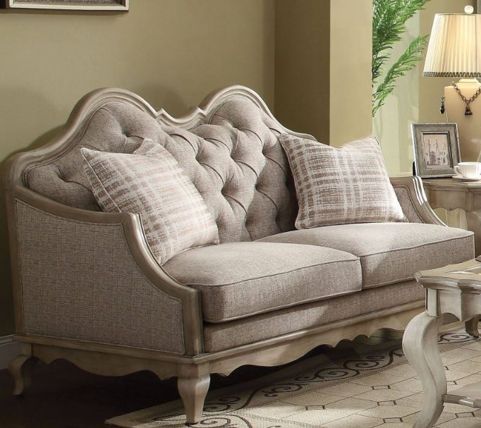 Acme Chelmsford Loveseat Pillows Beige Fabric Antique Taupe
