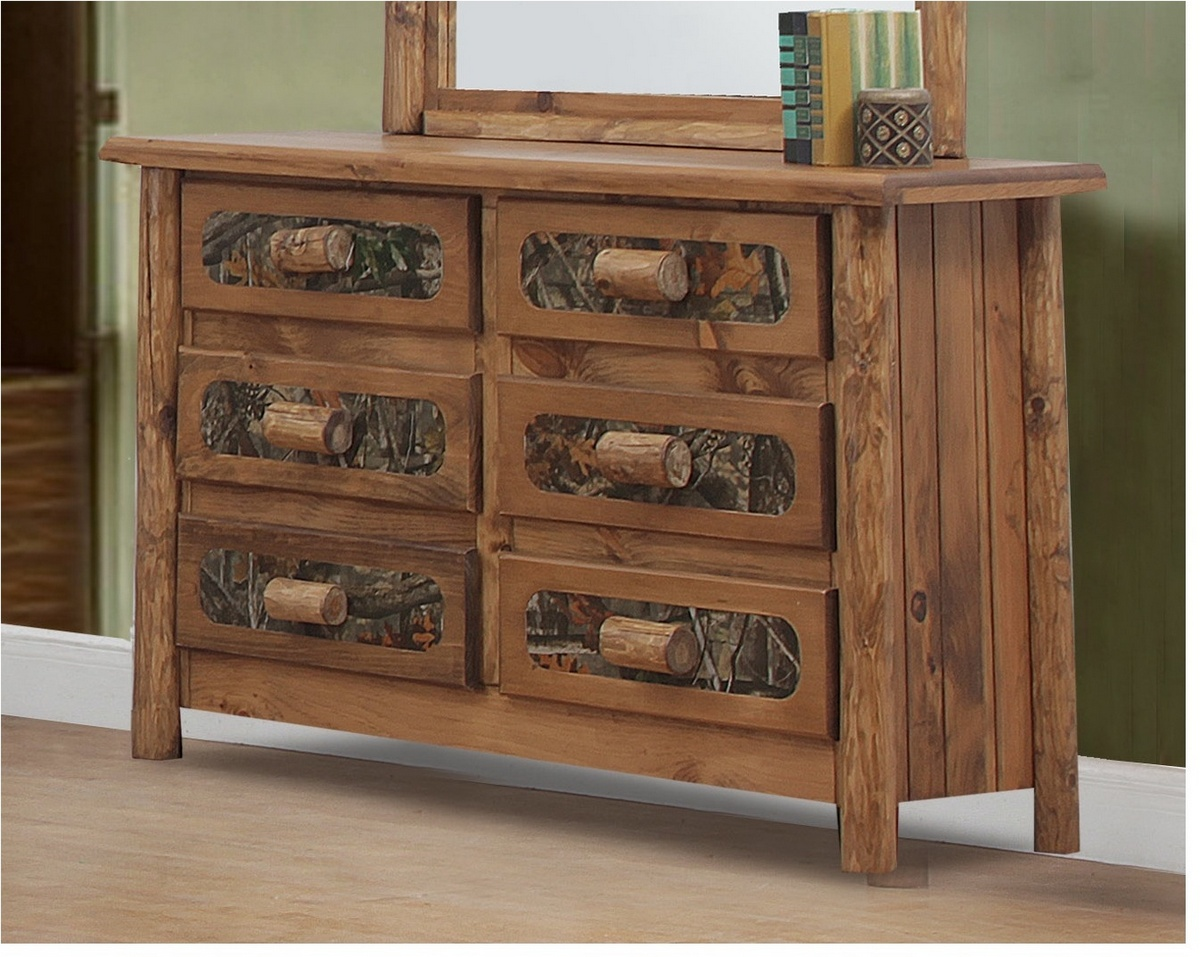 Chelsea Home Chicopee Rustic Southern Style Drawer Dresser Golden Oak Camo