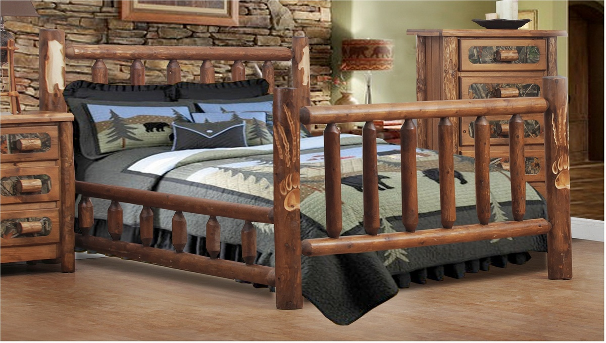Chelsea Home Southern Queen Log Bed Bear Claw Detail Golden Oak