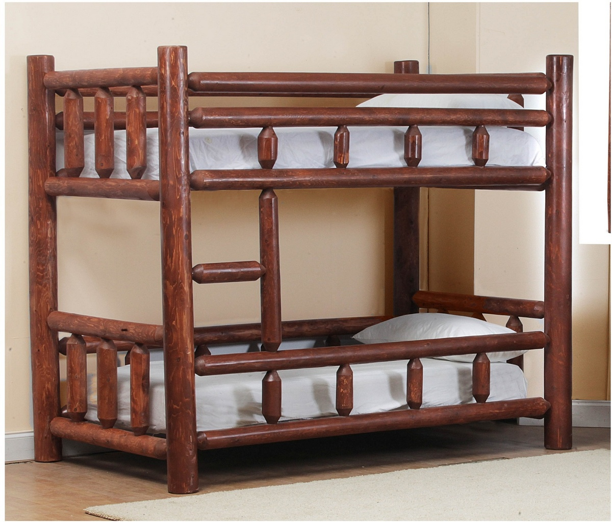 Chelsea Home Twin Log Bunk Bed Pecan