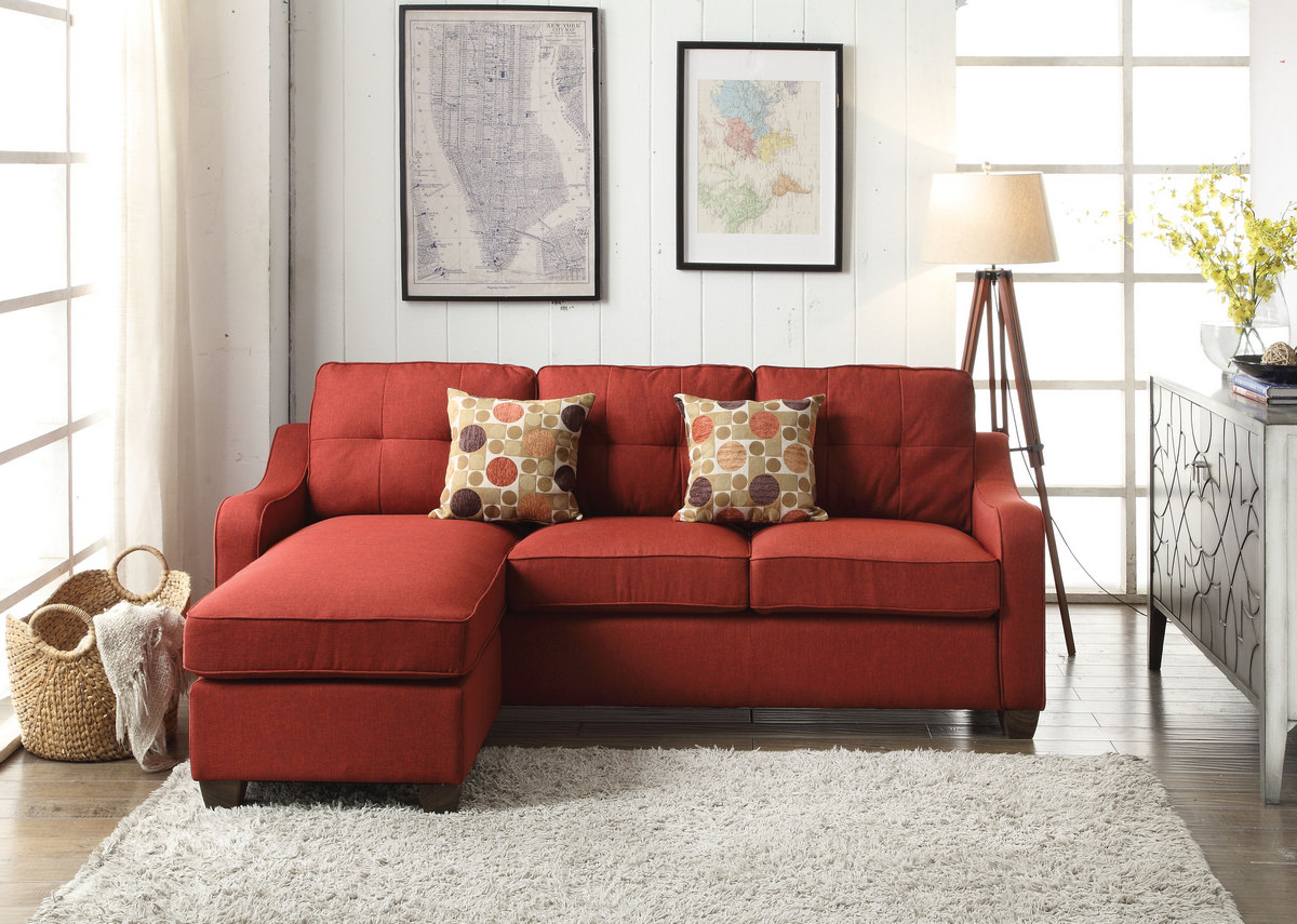 Acme Cleavon Sectional Sofa Rev Chaise Pillows Red Linen