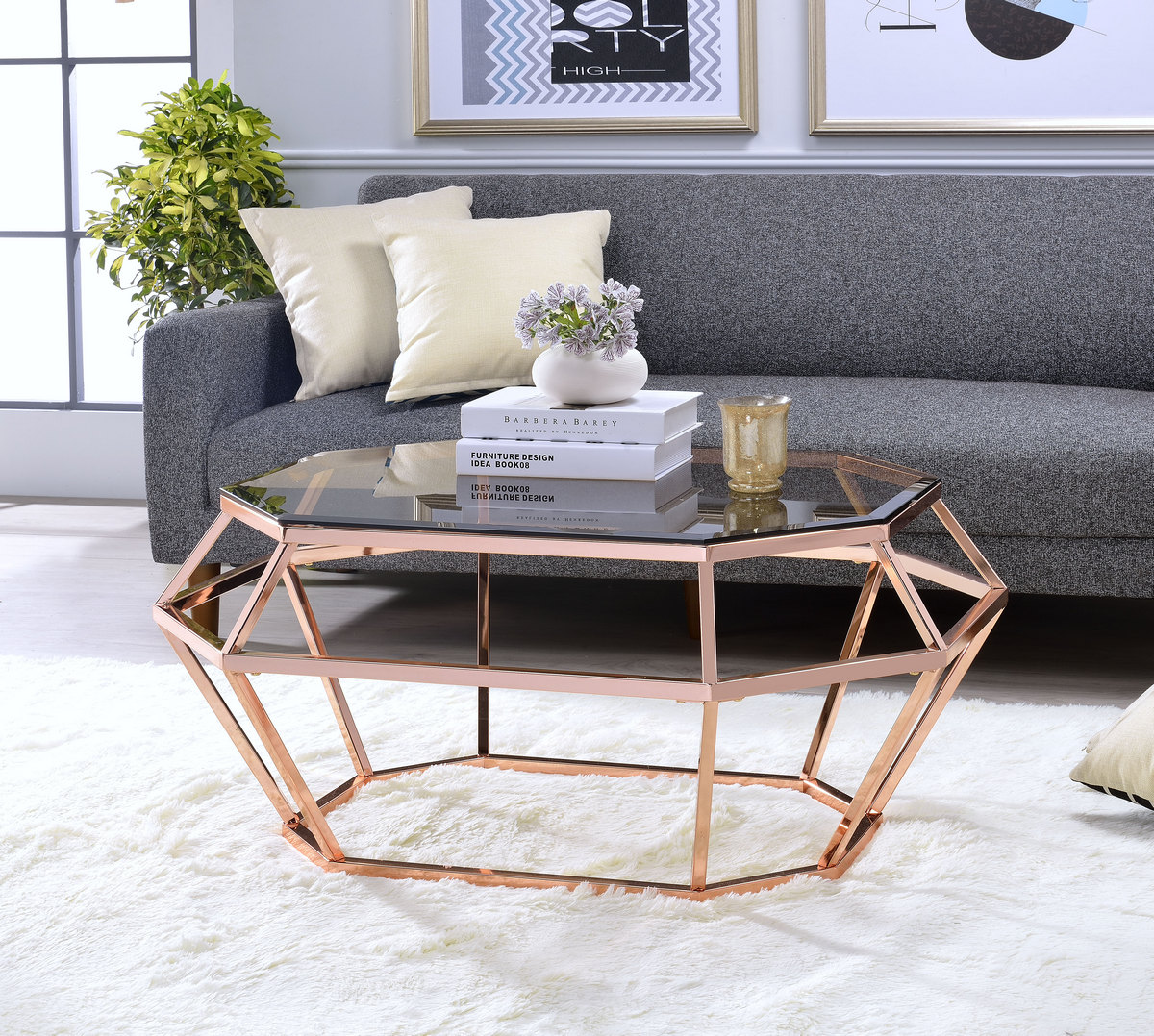 Acme Clifton Coffee Table Rose Gold Smoky Glass