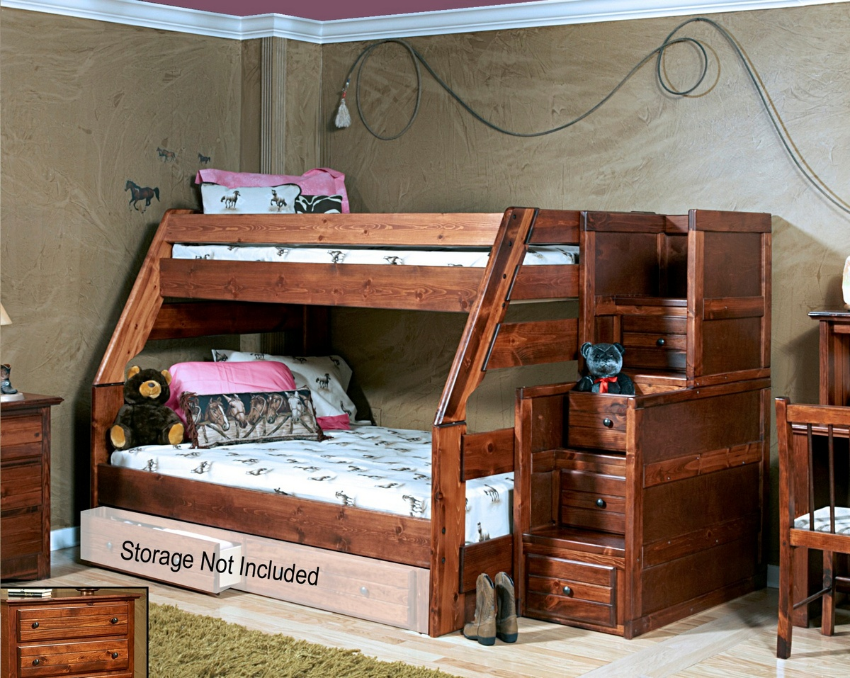 Chelsea Home Cocoa Breeze Twin Over Full Bunk Bed Stairway Chest
