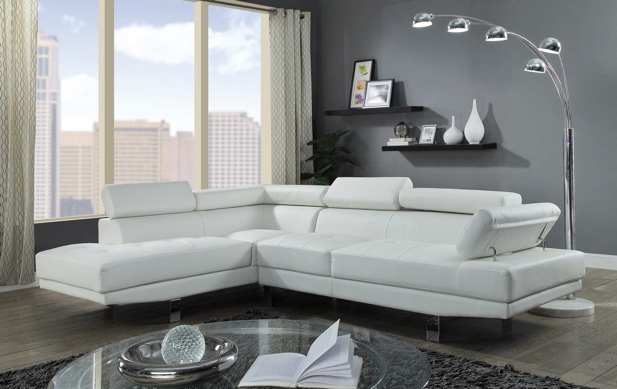 Acme Connor Sectional Sofa Cream Pu