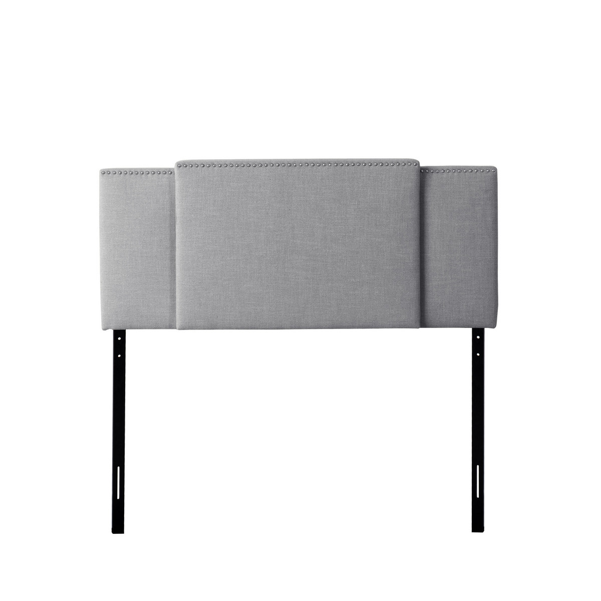 CorLiving BBT-960-A Fairfield 3-in-1 Expandable Panel Headboard, Double, Queen or King, Grey Padded Fabric