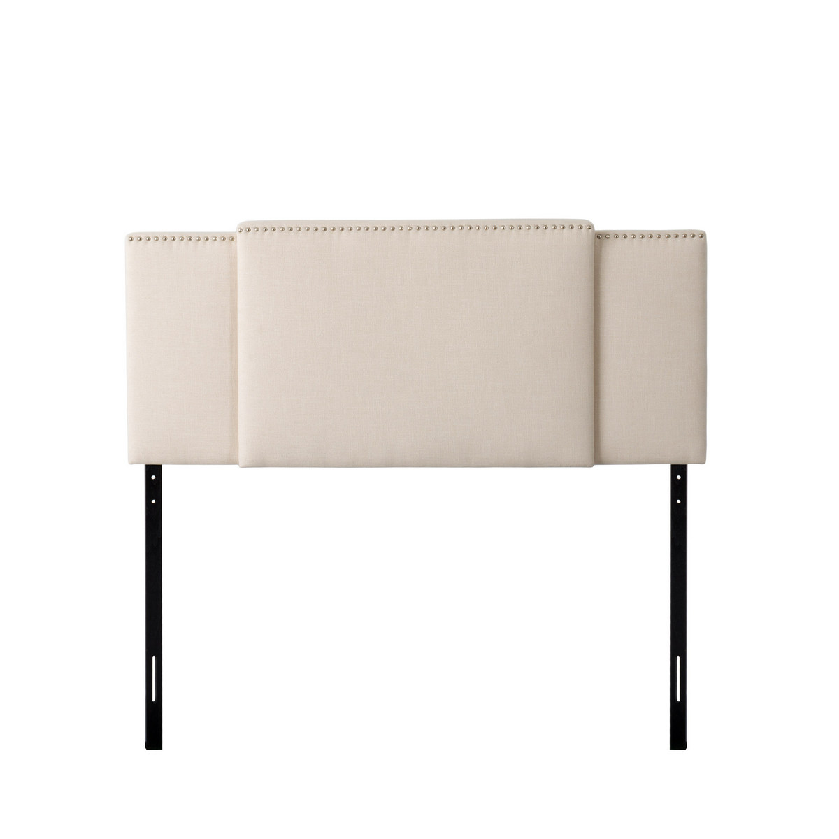 CorLiving BBT-970-A Fairfield 3-in-1 Expandable Panel Headboard, Double, Queen or King, Cream Padded Fabric