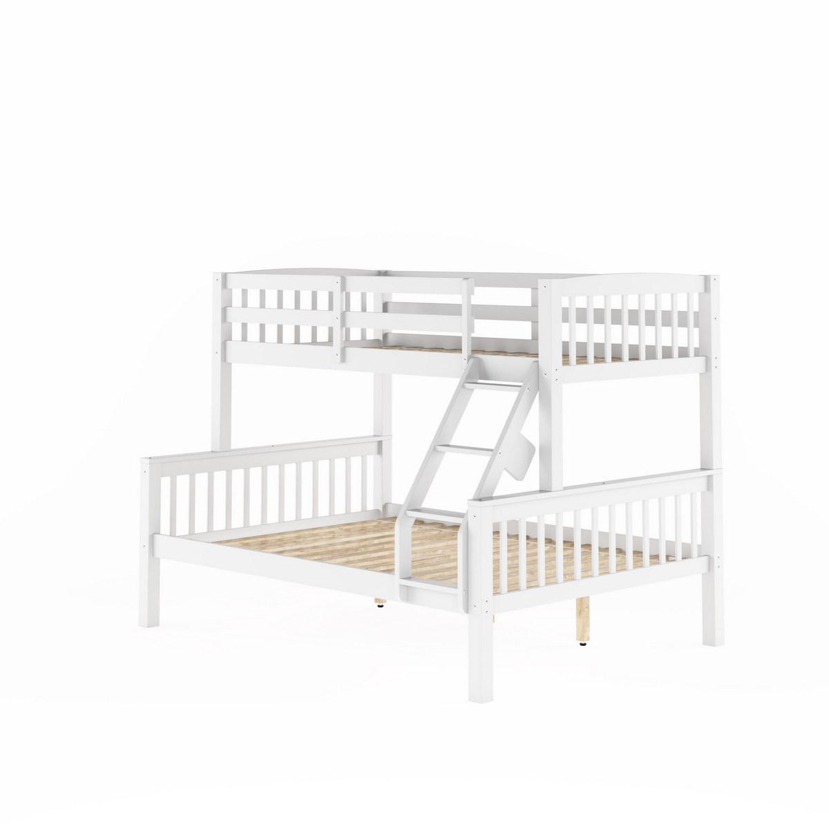 Corliving Bdn Dakota White Twin Single Over Full Double Bunk Bed