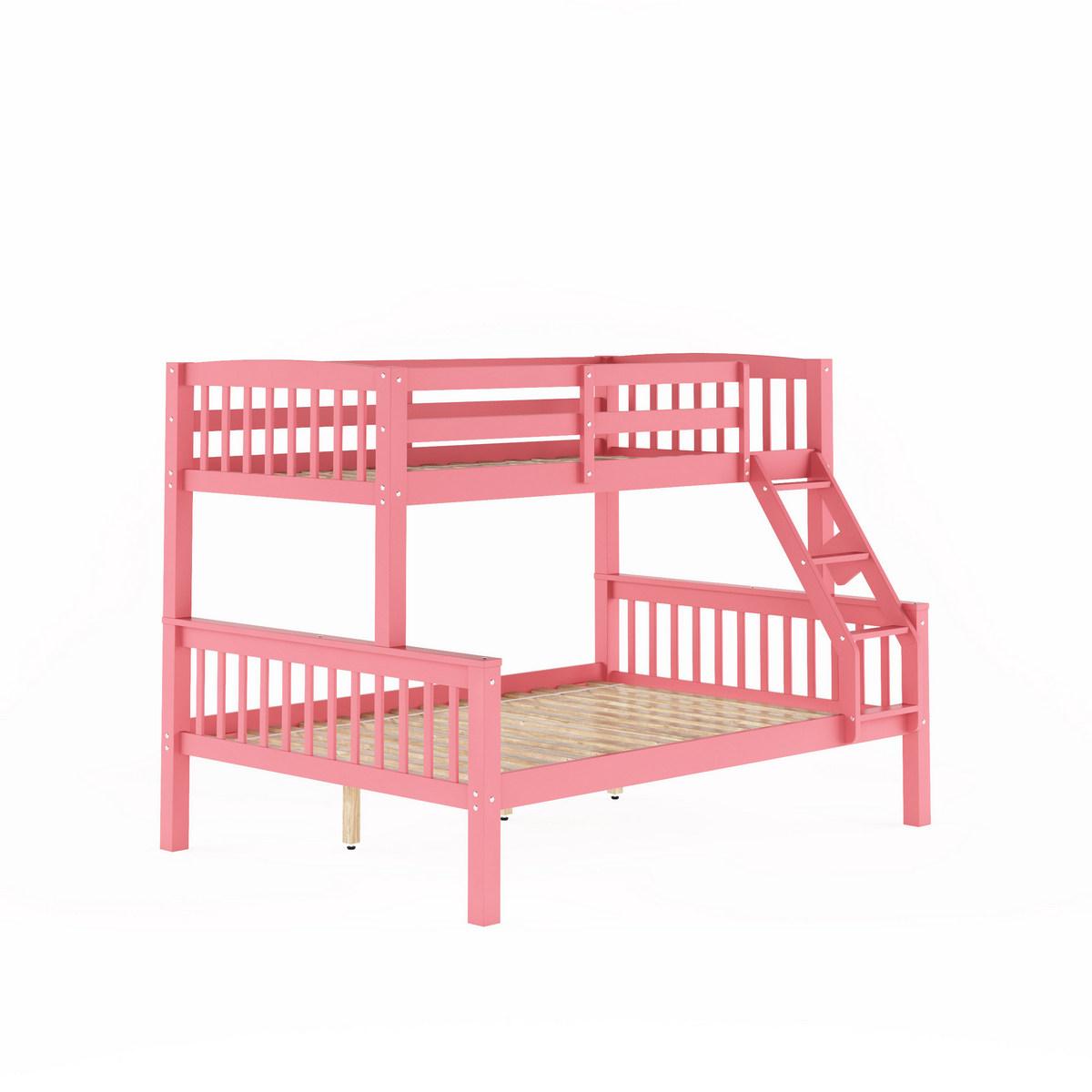 Corliving Bdn Dakota Pink Twin Single Over Full Double Bunk Bed