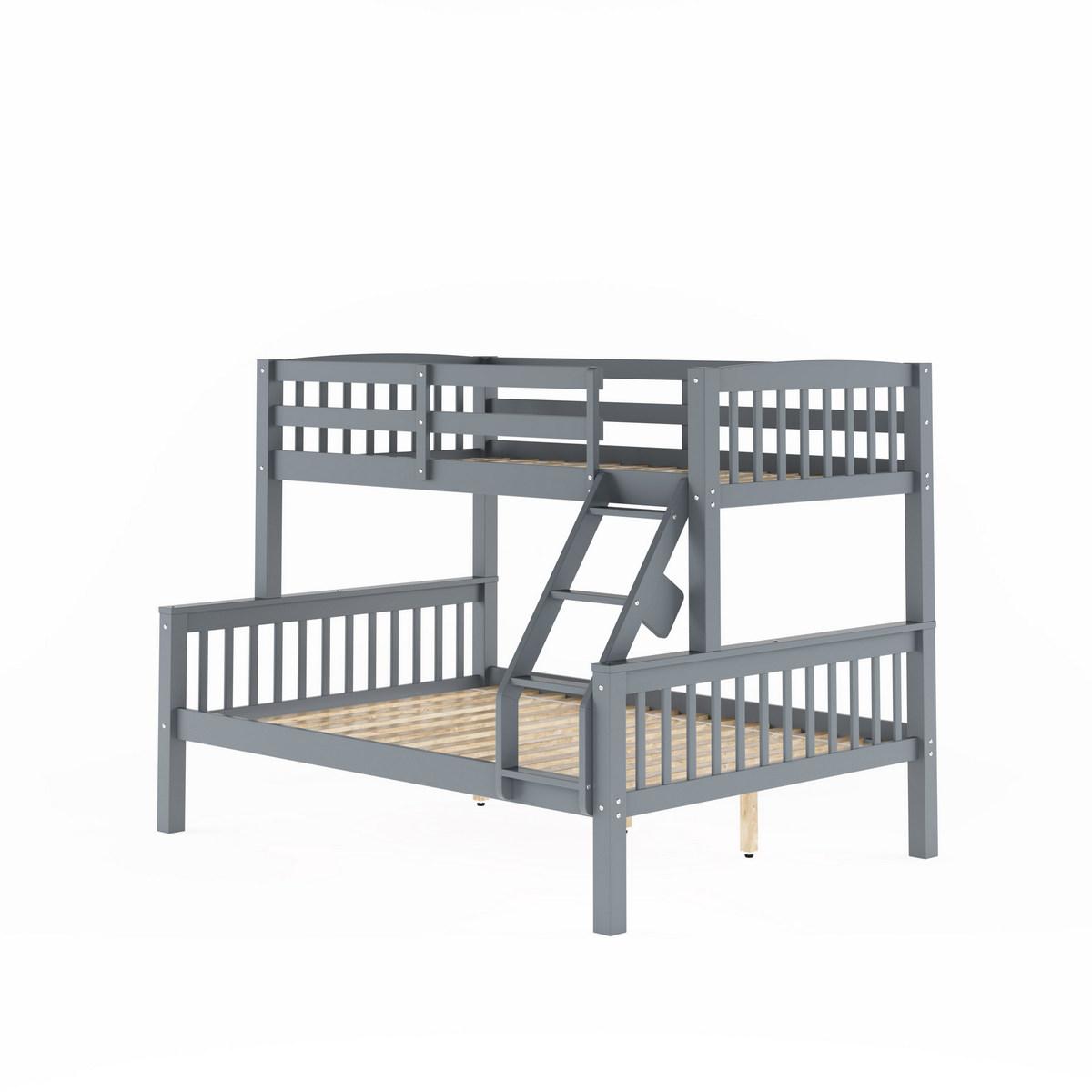 Corliving Bdn Dakota Grey Twin Single Over Full Double Bunk Bed