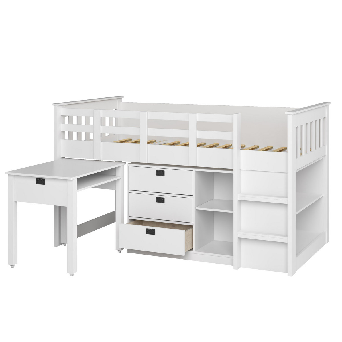 CorLiving BMG-310-B Madison 4pc All-in-One Single/Twin Loft Bed in Snow White