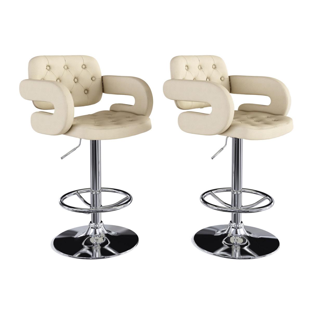 CorLiving DAB-221-B Adjustable Tufted Oatmeal Fabric Barstool w/ Armrests, set of 2