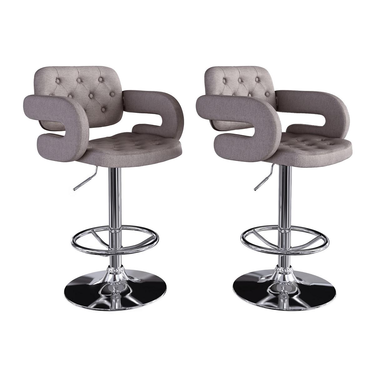 CorLiving DAB-224-B Adjustable Tufted Medium Grey Fabric Barstool w/ Armrests, set of 2