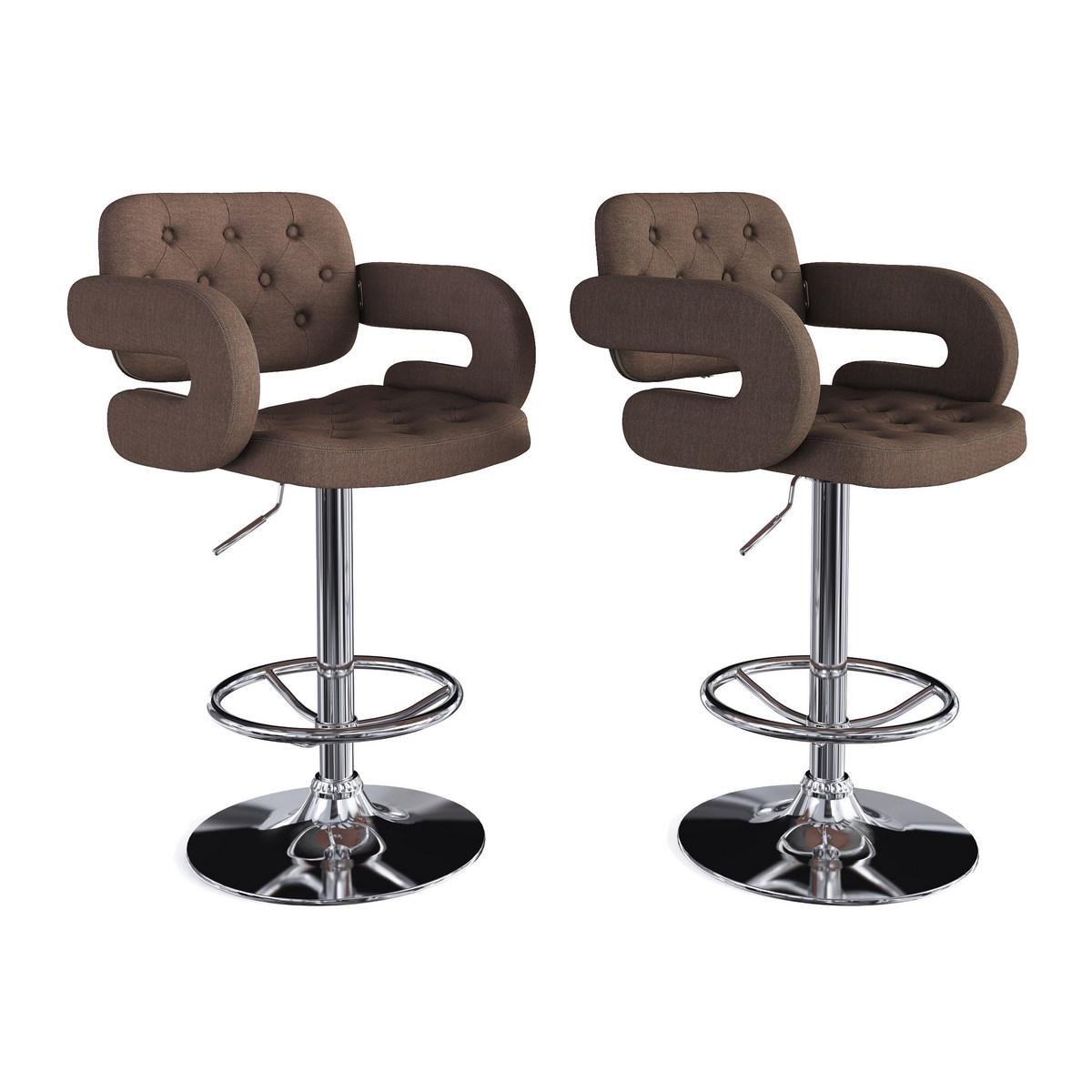 CorLiving DAB-227-B Adjustable Tufted Dark Brown Fabric Barstool w/ Armrests, set of 2