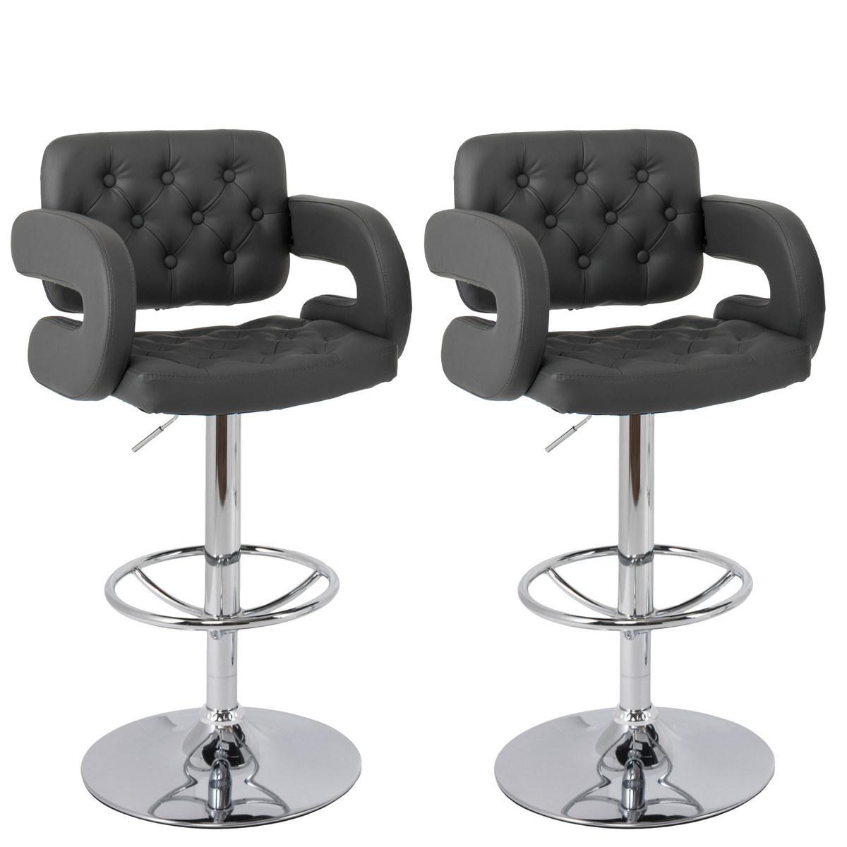 CorLiving DAB-999-B Adjustable Tufted Dark Grey Bonded Leather Barstool w/ Armrests, set of 2