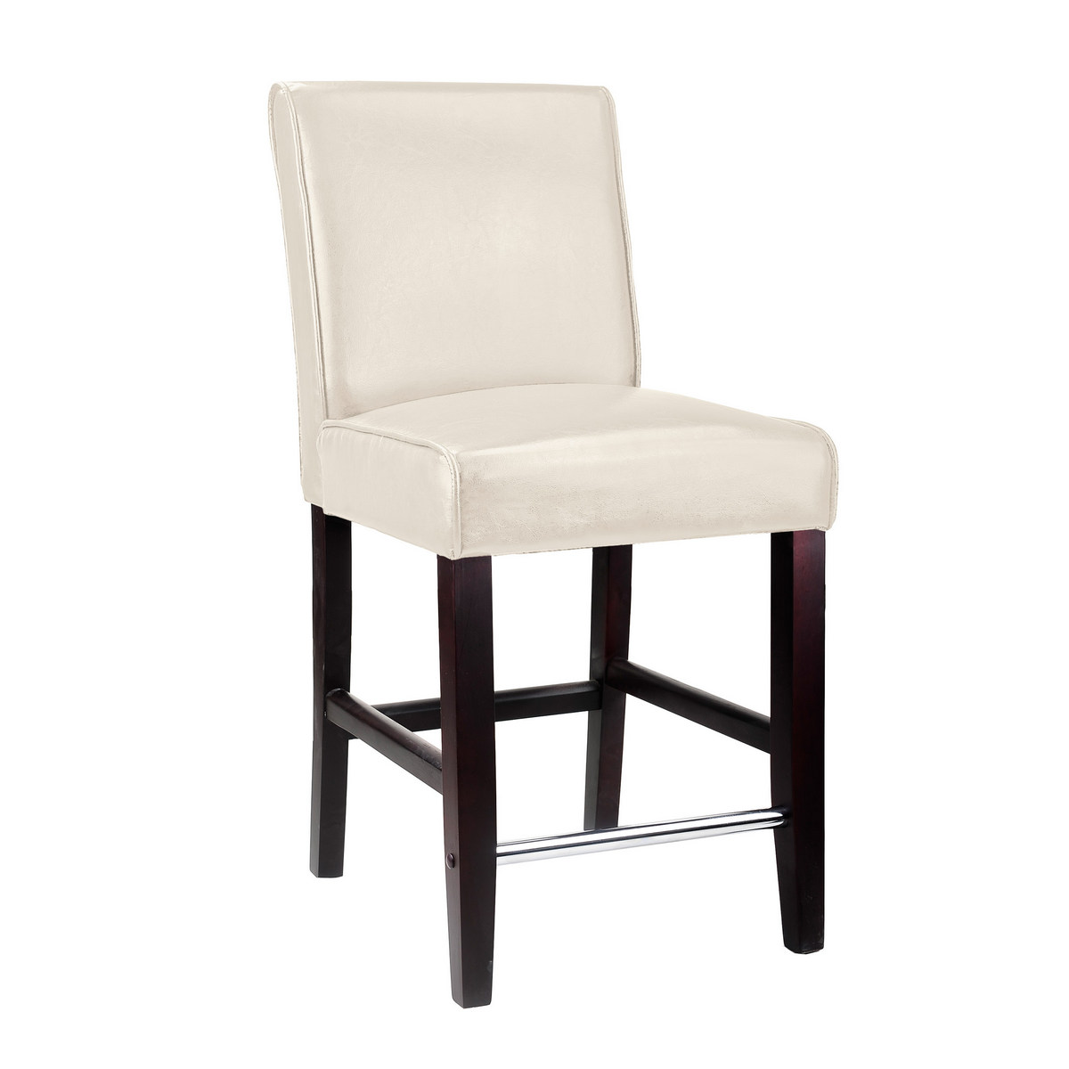 CorLiving DAD-514-B Antonio Counter Height Barstool in White Bonded Leather
