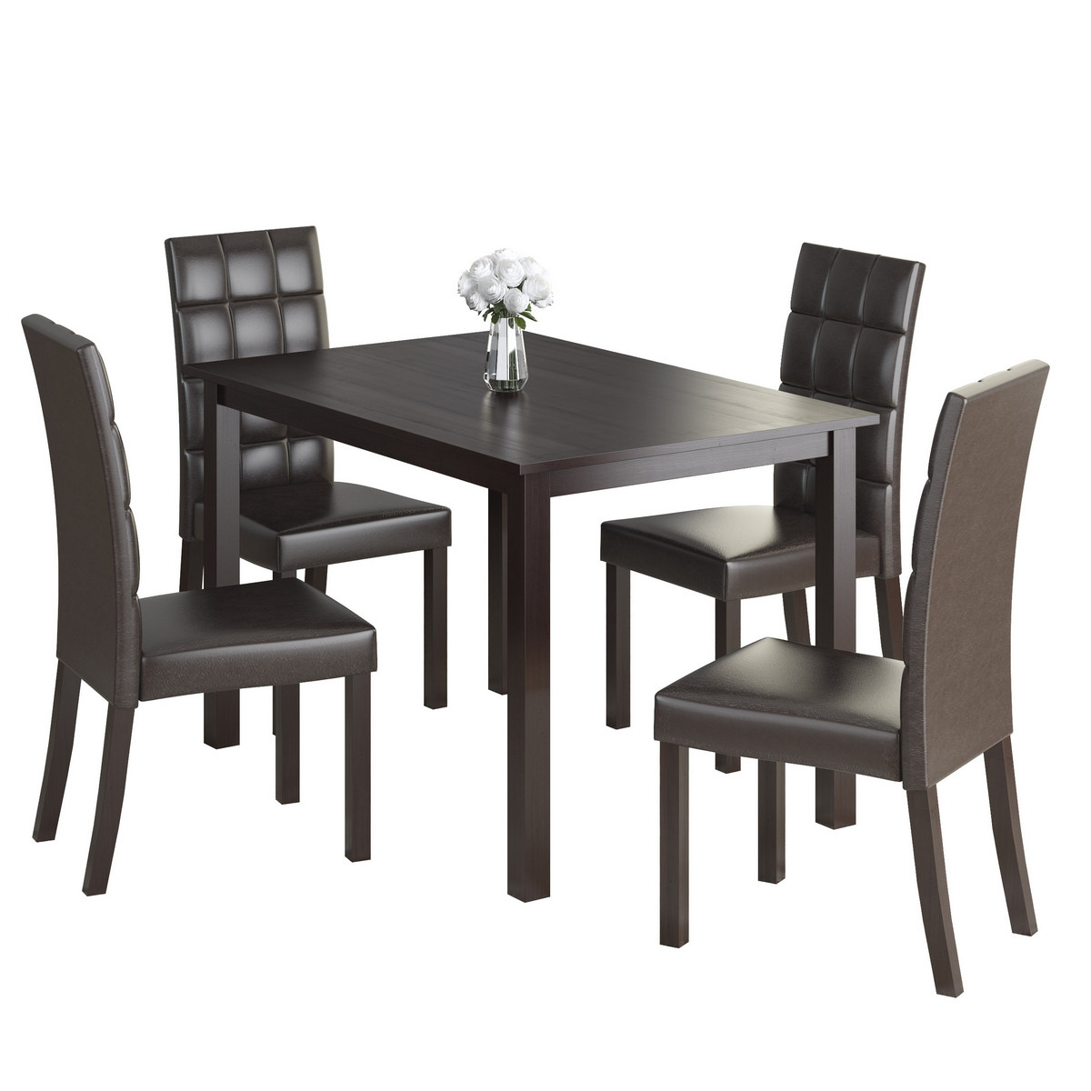 Dining Set Dark Brown Leatherette Seats