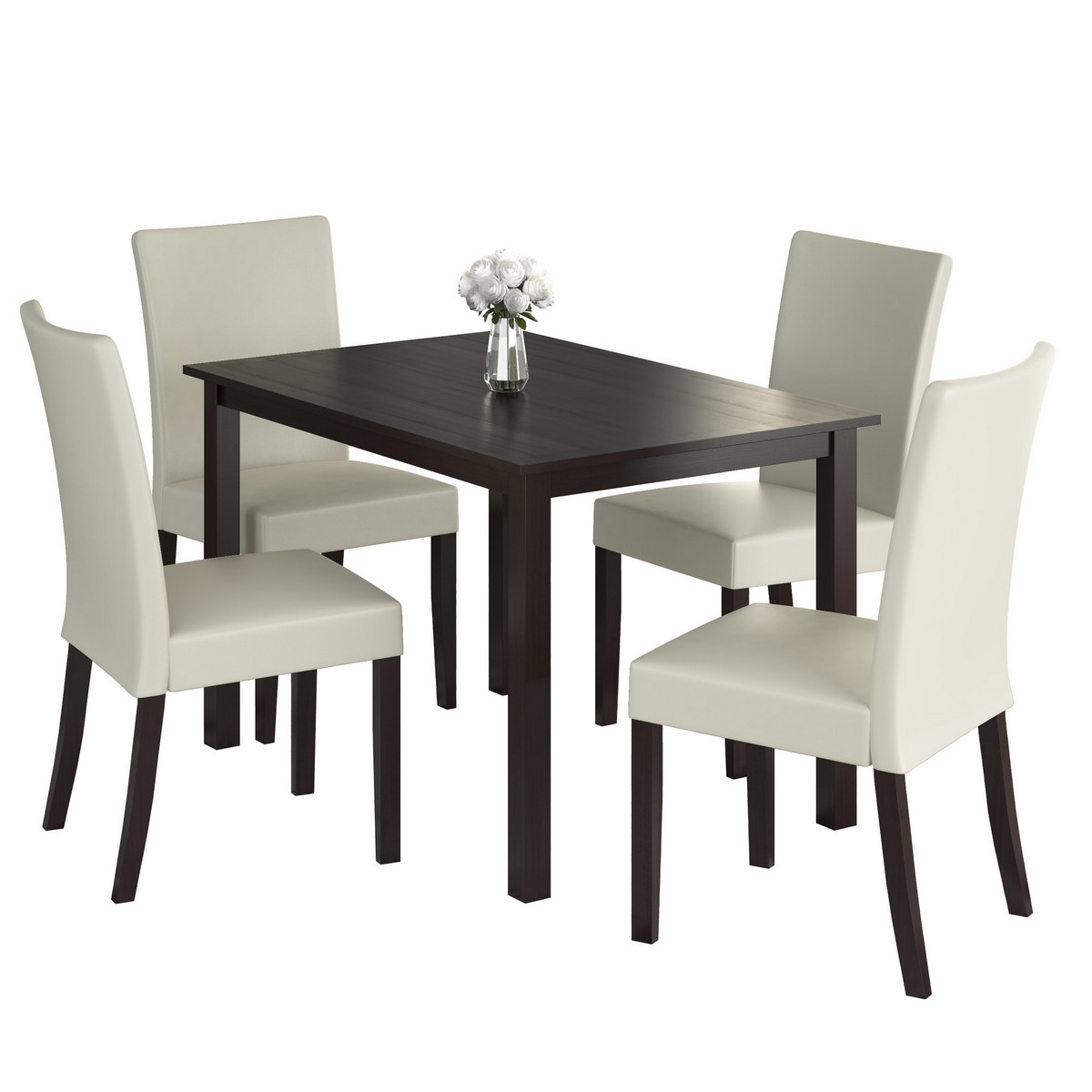 Dining Set Cream Leatherette Seats