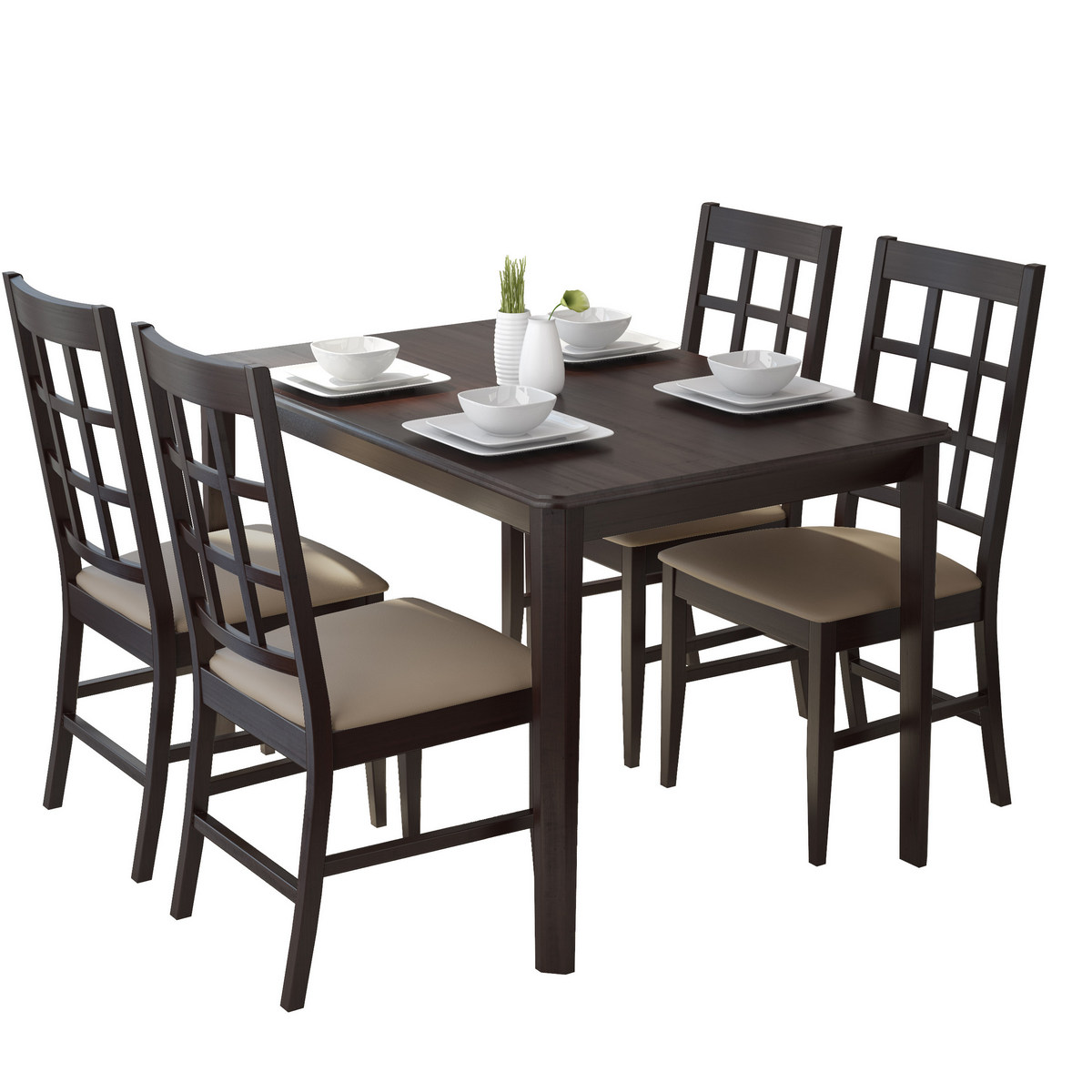 Corliving Drg Atwood Dining Set Taupe Stone Leatherette Chairs