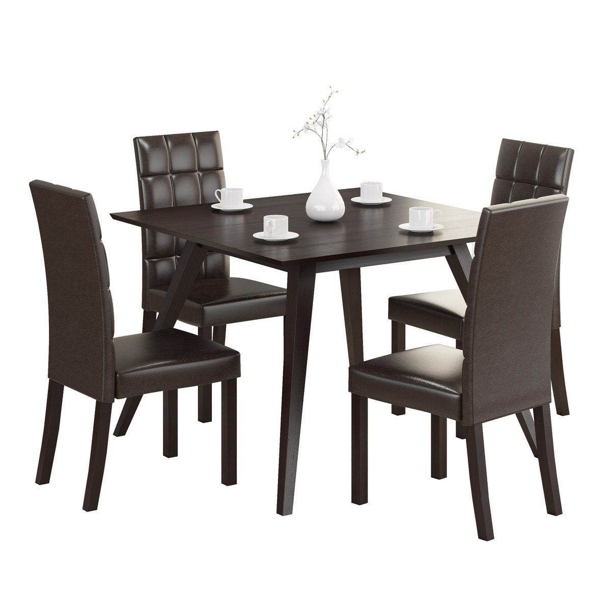 Dining Set Dark Brown Leatherette Chairs