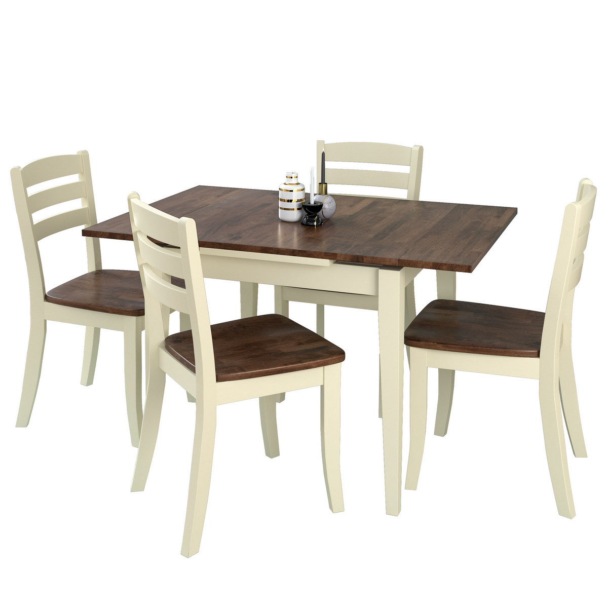 Corliving Dsh Dillon Extendable Dark Brown Cream Solid Wood Dining Set