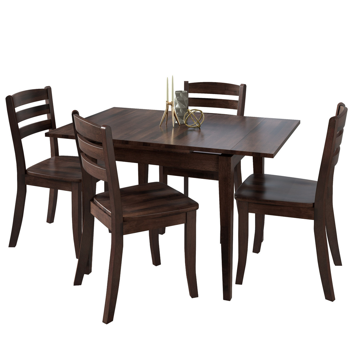 Corliving Dsh Dillon Extendable Cappuccino Stained Solid Wood Dining Set