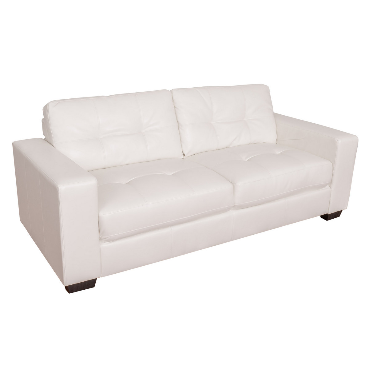Corliving Tufted White Bonded Leather Sofa Product Picture