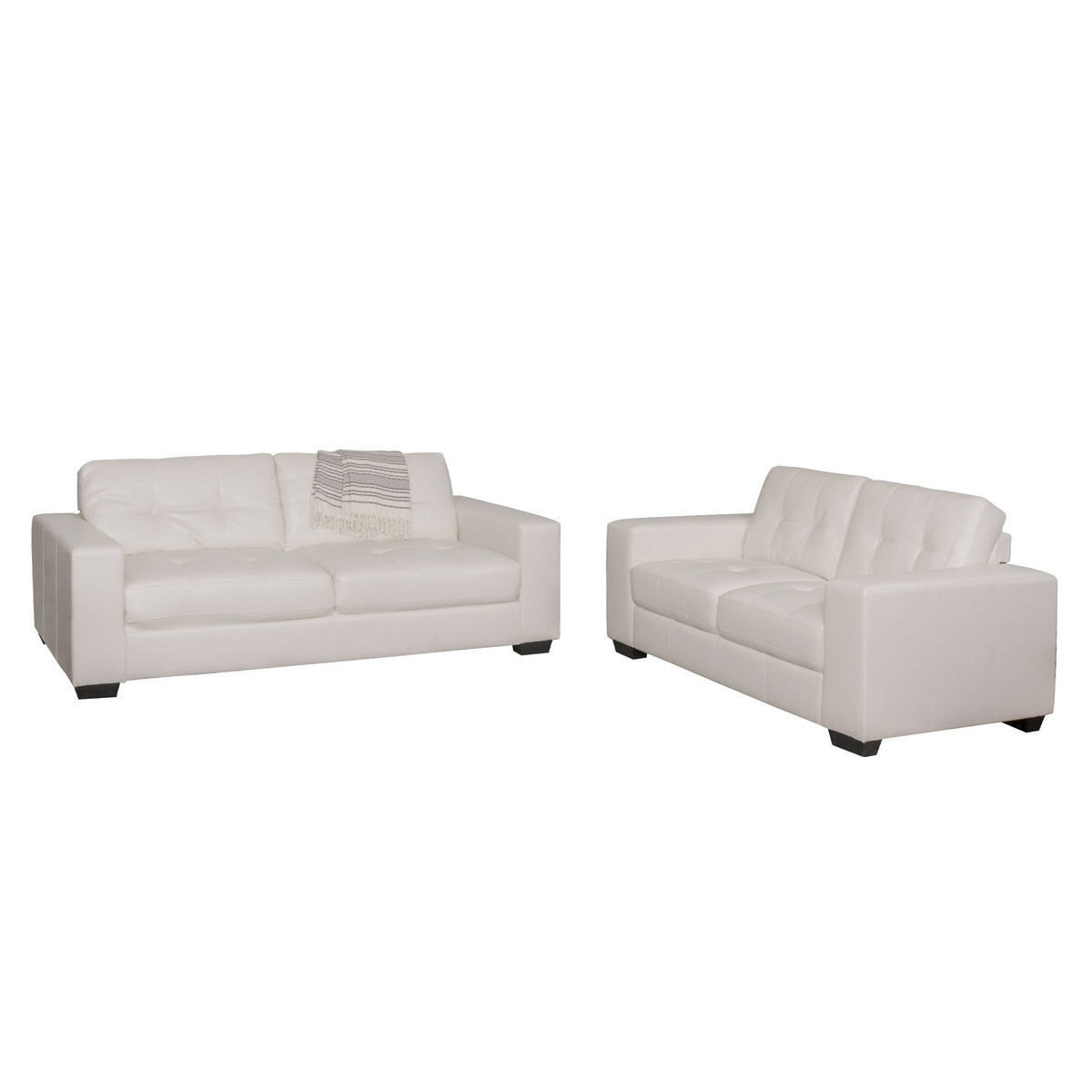 Corliving Club Tufted White Bonded Leather Sofa Set