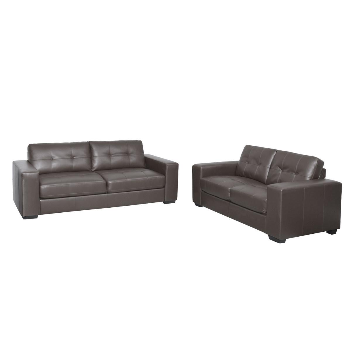 Corliving Club Tufted Brownish Grey Bonded Leather Sofa Set