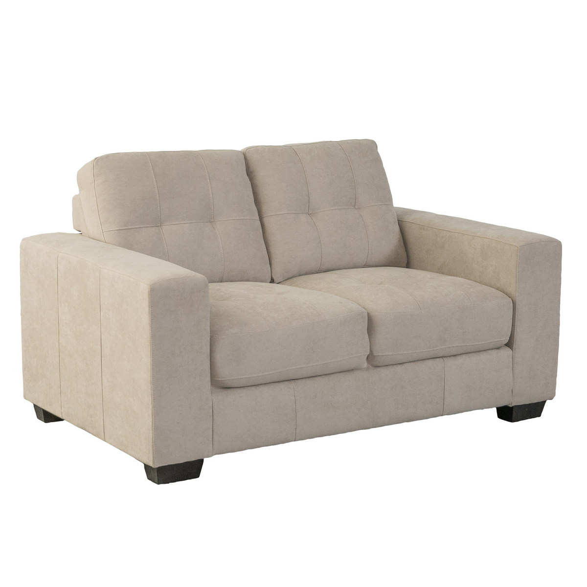 Corliving Club Tufted Beige Chenille Fabric Loveseat