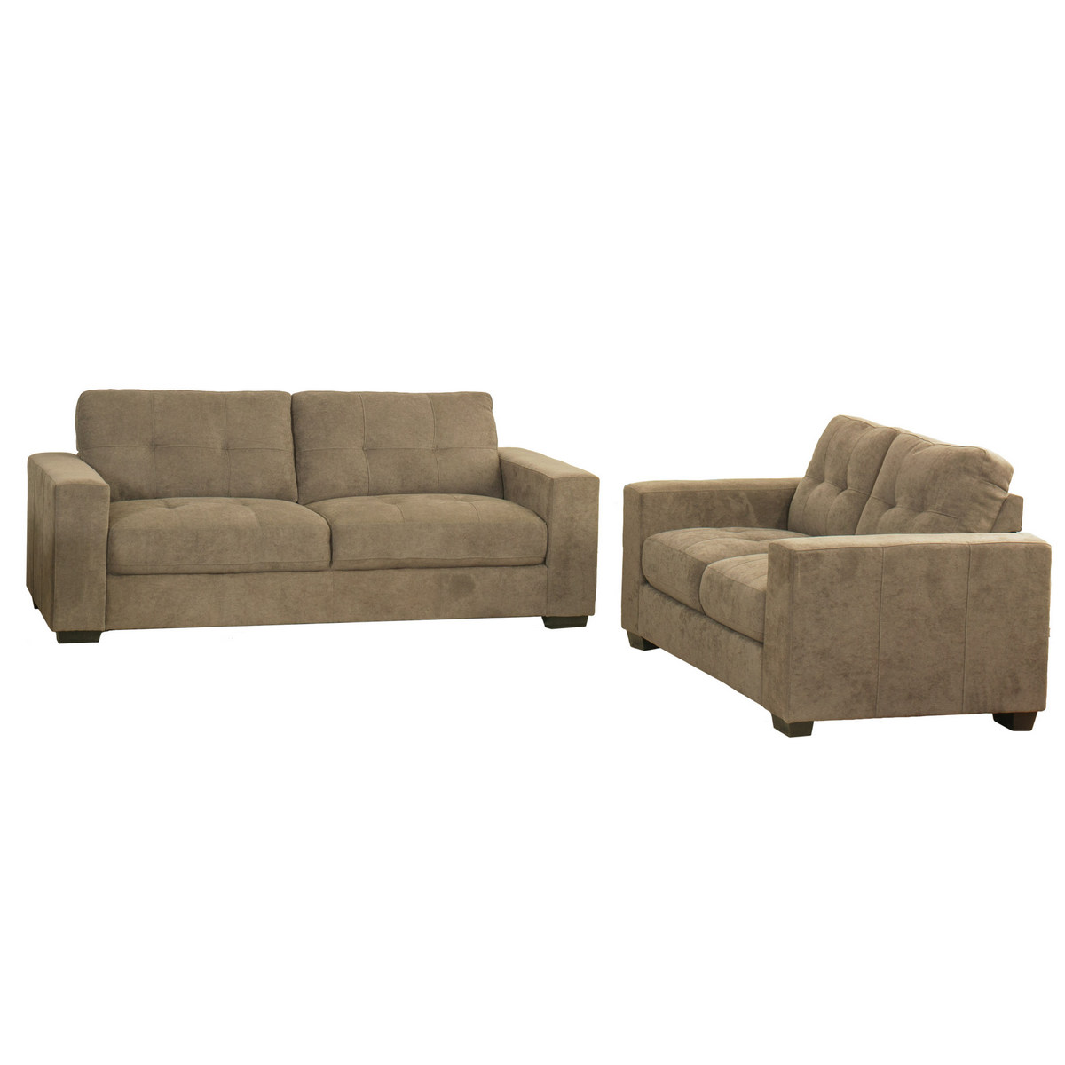 Corliving Club Tufted Brown Chenille Fabric Sofa Set