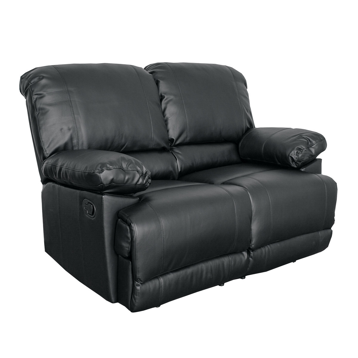 Corliving Lea Black Bonded Leather Reclining Loveseat