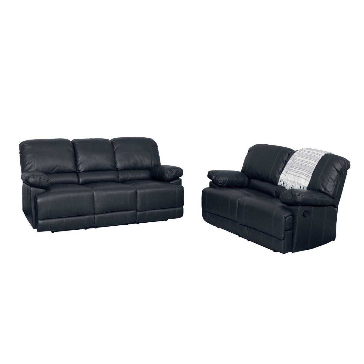 Corliving Black Bonded Leather Reclining Sofa Set