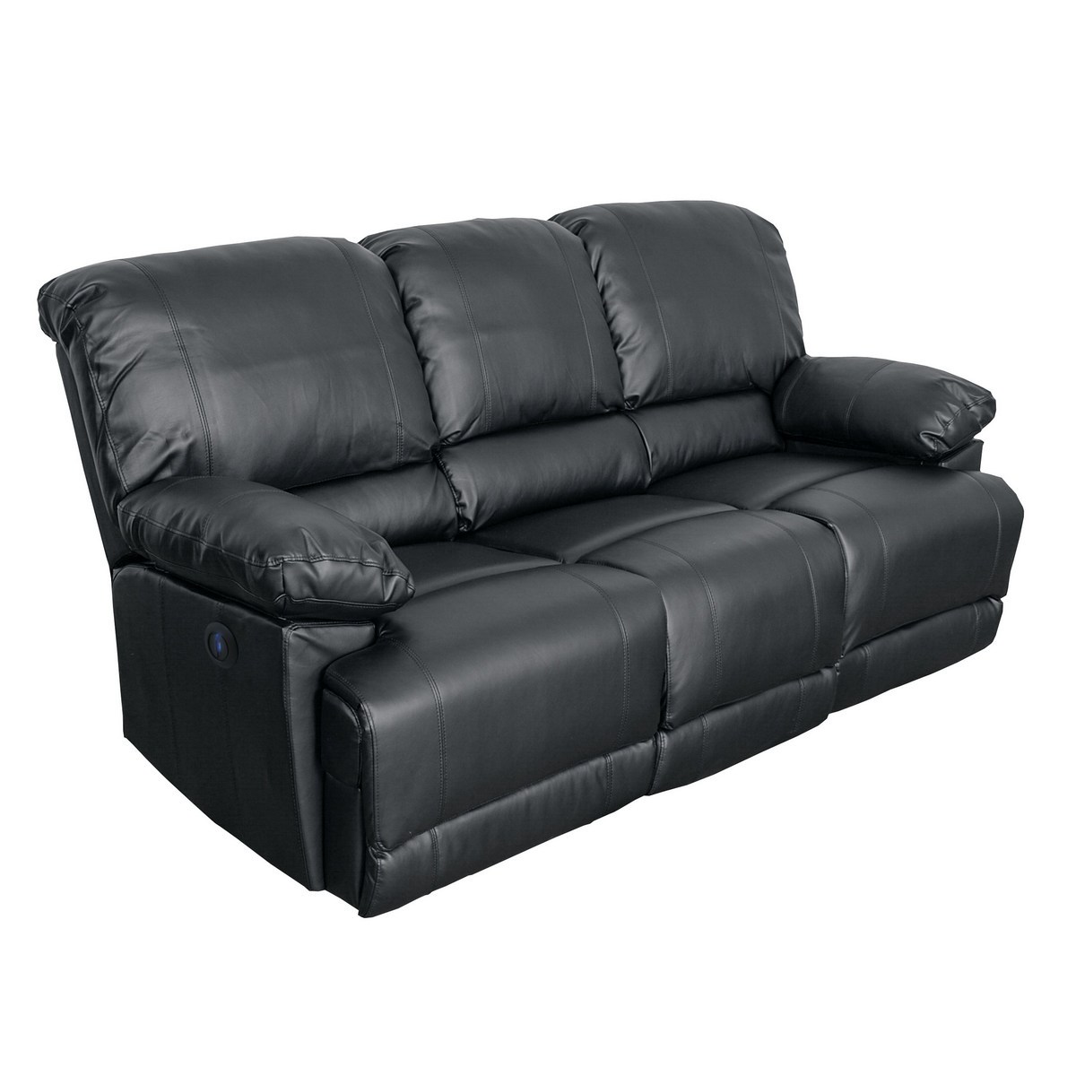 Corliving Lea Black Bonded Leather Power Reclining Sofa Usb Port